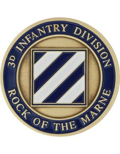 3rd Infantry Division Bronze with Enamel Coin