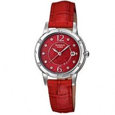01ab3b7f13e Casio Sheen Ladies Red Leather Fashion Dress Watch SHE-4021L-4A SHE4021L