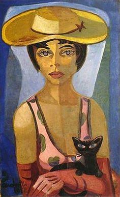 """Art, Animal, Cat. Emiliano Augusto Cavalcanti de Albuquerque Melo a.k.a. Di Cavalcanti (Brazilian, 1897 – 1976) - """"Retrato de Nize"""", 1958"""