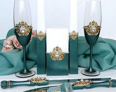 Green and gold wedding glasses Crystal cake server and knife set Unity candle set Wedding toasting flutes Personalized champagne glasses Wedding Toasting Glasses, Wedding Champagne Flutes, Champagne Glasses, Toasting Flutes, Gold Wedding Theme, Wedding Sets, Purple Wedding, Lace Wedding, Burgundy And Gold