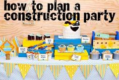 Complete construction party plan -amazing! Many ideas, all together, of what I'd already been planning ... Love