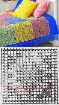 Crochet afghans 489414684489626009 - SFR Mail Source by hlneperfettini Filet Crochet Charts, Crochet Diagram, Crochet Motif, Crochet Doilies, Free Crochet, Crochet Blocks, Crochet Squares, Crochet Blanket Patterns, Knitting Patterns