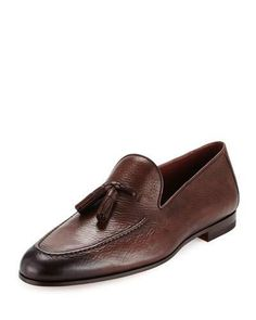 d90ec4ab5e5 Magnanni For Neiman Marcus Pebbled Leather Tassel Loafer Leather Tassel
