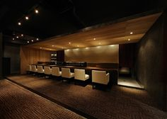 love the chairs Modern Japanese Interior, Japanese Modern, Modern Interior, Japanese Restaurant Design, Japanese Bar, Lounge Lighting, Style Japonais, Interior Design Images, Sushi Restaurants