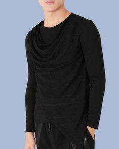 3d95e6e5082 Asymmetrical plain black tshirt cowl neck tops for men long sleeve