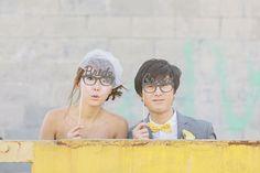 A fun happy geek yellow/white/gray wedding!