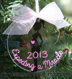 Anticipating a Miracle Decoration. Nice present concept by 2MBowtique.... *** See more at the photo link