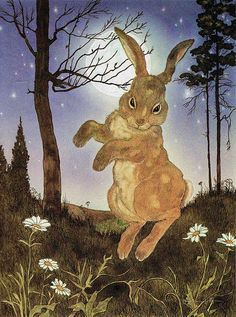 '... he went springing about the turf'  'The Velveteen Rabbit' by Margery Williams. Illustrated by Michael Hague © 1983