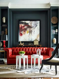 Diana Parrish Design and Photography + Emerson et Cie via Masins Fine Furniture (Red couch & dark gray wall w/ abstract painting) My Living Room, Home And Living, Living Spaces, Red Living Room Decor, Modern Living, Sofa Design, Design Design, Interior Design Inspiration, Room Inspiration