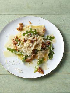 Ricotta and Walnut Ravioli with Arugula recipe from Food Network Kitchen via Food Network