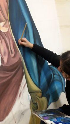 Realizzazione su pannello ligneo dell'immagine principale. Tecnica: tempera acrilica Allieva: Chiara Domenici 4B Liceo Artistico Stagio Stagi Pietrasanta