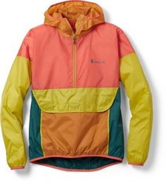 Colorful, packable and weather-resistant, the women's Cotopaxi Teca Windbreaker half-zip jacket offers lightweight protection on windy ridge hikes, breezy bike rides and minimalist travel adventures. Available at REI, Satisfaction Guaranteed. Fall Jackets, Shop Jackets, Casual Jackets, Women's Jackets, Blazers For Women, Jackets For Women, Paisley, Look Chic, Rain Jacket