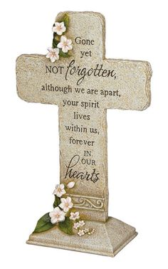 """Carson Home Accents' Hearts Cross Garden Marker is made of cast resin to look like hand carved stone and has UV coating for lasting outdoor protection. The marker reads """"""""Gone yet not forgotten, altho Grave Plaques, Memorial Plaques, Libra, Grieving Gifts, Indestructable Dog Bed, Memorial Garden Stones, Deer Statues, Angel Statues, Fast Flowers"""