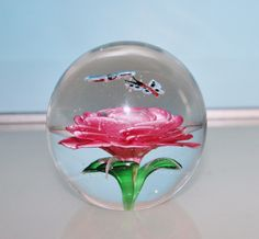 Avita Inc. Crystal Collection Paperweight Pink Rose Butterfly Large Studio