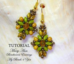 PDF Tutorial Beadwoven Earrings, SuperDuo Tutorial, Seed Bead Earrings, Earring Tutorial, Beadwork Tutorial, Beadwoven Earrings,Tutorial