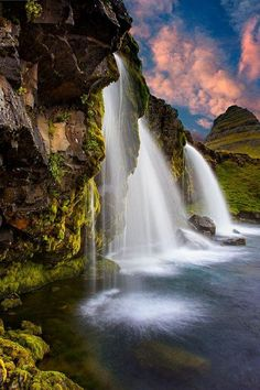 """Kirkjufellsfoss, Iceland ~ Mik's Pics """"Nature Scenes l"""" board Beautiful Waterfalls, Beautiful Landscapes, Places To Travel, Places To See, Places Around The World, Around The Worlds, Landscape Photography, Nature Photography, Photos Voyages"""