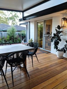 Our backyard renovation - from daggy sunroom to new patio with Pacific teak deck. Indoor Outdoor Living, Outdoor Spaces, Outdoor Decor, Backyard Renovations, Deck Renovation Ideas, Covered Patio Design, Big Deck, Built In Furniture, Decks And Porches