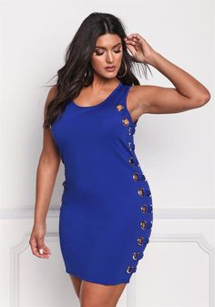 Plus Size Clothing | Plus Size Side Hoops Bodycon Dress | Debshops