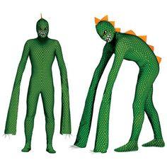Reptielen monster kostuum voor mannen. Eng reptielen kostuum met lange armen en oranje stekels op de rug. Dit kostuum bestaat uit een elastische jumpsuit en vier opblaasbare kussentjes voor de lange armen. One size model(L/XL). Materiaal: spandex.