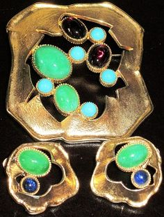 Jomaz Amazing Colorful Cabochon Modernist Vintage Pin Earring Set | eBay Sold for $ 96