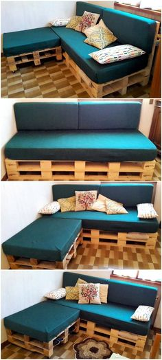 Spectacular Diy Projects Pallet Sofa Design Ideas For You 09 Diy Pallet Couch, Pallet Bed Frames, Pallet Patio Furniture, Reclaimed Wood Furniture, Recycled Furniture, Diy Furniture, Furniture Plans, Pallet Headboards, Pallet House