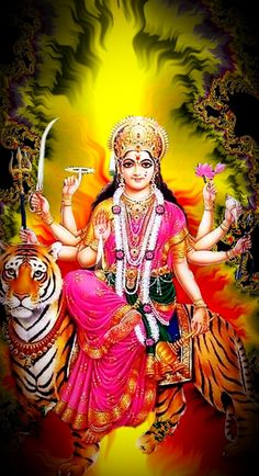 Durga traditionally holds the weapons of various male gods of Hindu mythology, which they give her to fight the evil forces because they feel that she is the shakti (energy, power). Shiva Parvati Images, Durga Images, Shiva Hindu, Shiva Shakti, Hindu Deities, Hanuman Images, Krishna, Lord Durga, Durga Ji