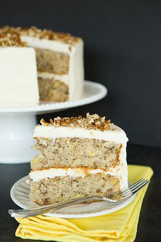 This Hummingbird Cake is a wonderfully moist banana cake with crushed pineapple, pecans and a cream cheese frosting.