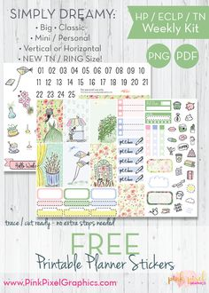 Free Printable Simply Dreamy Planner Stickers {subscription required} Lots of sizes to fit just about any planner. See more at www.pinkpixelgraphics.com