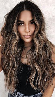 Brown Hair Balayage, Balayage Brunette, Hair Color Balayage, Brunette Hair, Blonde Hair, Warm Blonde, Blonde Ombre, Bayalage On Black Hair, Brown Ombre Hair