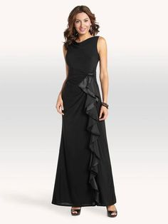 Back V Side Ruffle Gown