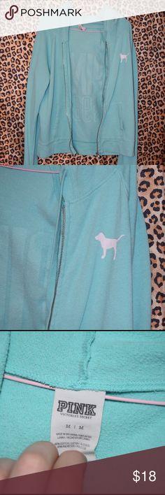 Victoria's Secret PINK zip up hoodie  Mint green zip up hoodie, size Medium PINK Victoria's Secret Tops Sweatshirts & Hoodies