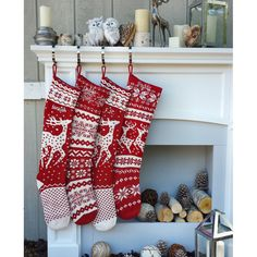 Knit Christmas Stockings Red White Renindeer or Snowflake Design... (66 BAM) ❤ liked on Polyvore featuring home, home decor, holiday decorations, reindeer christmas stocking, red and white christmas stockings, birthday calendar and holiday decor