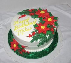 Christmas Poinsettias on Cake Central Christmas Cake Designs, Christmas Cake Decorations, Holiday Cakes, Holiday Desserts, Christmas Deserts, Christmas Cupcakes, Christmas Treats, Christmas Baking, Cake Decorating Supplies