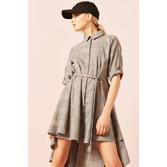 Forever21 Belted Plaid Shirt Dress ($48) ❤ liked on Polyvore featuring dresses, grey, grey shirt dress, plaid dress, cotton shirt dress, gray t-shirt dresses and long plaid shirt dress