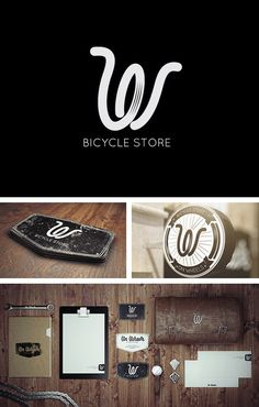 """On Wheels"" bicycle store by Misha Jers Brand Identity Design, Graphic Design Branding, Stationery Design, Corporate Design, Business Design, Logo Design, Corporate Identity, Typography Logo, Logos"