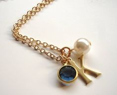 personalised initial necklace birthstones by madison honey vintage | notonthehighstreet.com
