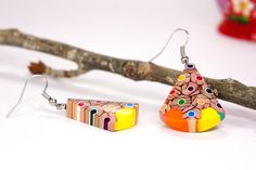 Earrings from colored pencils, Earring from colored pencils, Pencil jewelry, Handmade jewelry, colored jewelry, Pencil art, Earrings by ArpiHappyPencils on Etsy