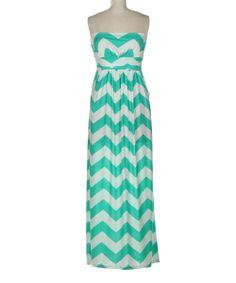 Mint + White Chevron / Zig-Zag Maxi Dress