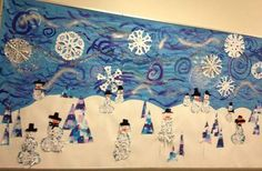 winter trees, snowmen, paper snowflakes, and poems written on the painted swoops and swirls! Christian Bulletin Boards, Winter Bulletin Boards, Elementary Art Rooms, Elementary Library, Preschool Christmas Crafts, Winter Art Projects, Winter Kids, Winter Snow, Collaborative Art