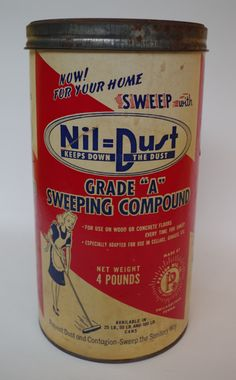 Vintage 1940s Nil Dust Sweeping Compound Packaging Container with GREAT Graphics by retrowarehouse on Etsy