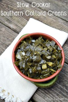 Make rich flavorful collard greens in your crockpot or slow cooker and learn about pot liquor. It's a great southern side dish and easy to make pin it for a holiday meal or weeknight treat