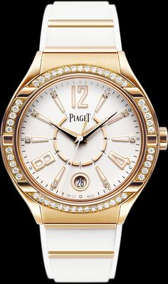 The Piaget Polo collection welcomes a female newcomer: the Piaget Polo FortyFive Lady watch. Ladies are sure to highly appreciate the union of a Gold case, a dial featuring a refined yet contemporary design and a white rubber strap, not to mention the brilliant-cut Diamonds sparkling on the bezel and dial. The gadrooned case demonstrates finely contrasting satin-brushed and polished surfaces.