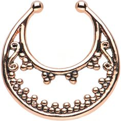 Rose Gold IP Beaded Majesty Non-Pierced Clip On Septum Ring | Body Candy Body Jewelry