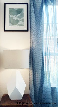 DIY Over-Sized Geometric Lamp Project Using Mat Board///// like the curtains