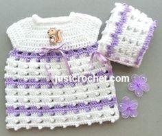 Free PDF baby crochet pattern for preemie dress and bonnet http://www.justcrochet.com/preemie-dress-bonnet-usa.html #justcrochet