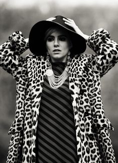 Factory Girl - Sienna Miller as Edie Sedgwick. leopard print coat, stripy dress, floppy hat