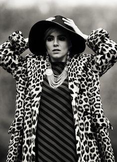Factory Girl - Sienna Miller as Edie Sedgwick. leopard print coat, stripy dress, floppy hat