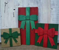 Christmas Presents made from pallet wood. Large bright colorful presents for your Christmas Porch. Set of Three  Approximate measurements 17x12,