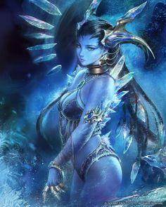 Image from fantasy and syfy.NSFW — darkbeautyss: Final Fantasy Shiva by agnidevi Dark Fantasy Art, Fantasy Girl, Foto Fantasy, Fantasy Art Women, Fantasy Kunst, Fantasy Character Design, Character Inspiration, Character Art, Fantasy Warrior