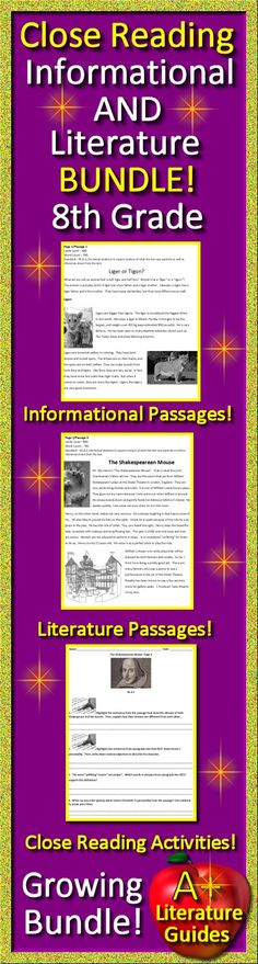 8th Grade Close Reading Informational AND Literature Bundle!  Passages PLUS Close Reading Activities.  Growing Bundle!  Buy now while the price is still low!